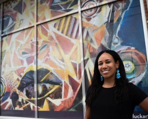 """Monique Luck's """"Lost & Found"""" work was among that of 13 artists displayed on empty properties in South End. The project, called Windows of Hope, was made possible by ArtPop Street Gallery, Charlotte Center City Partners and Lowe's. ERIC C. HALILI III"""